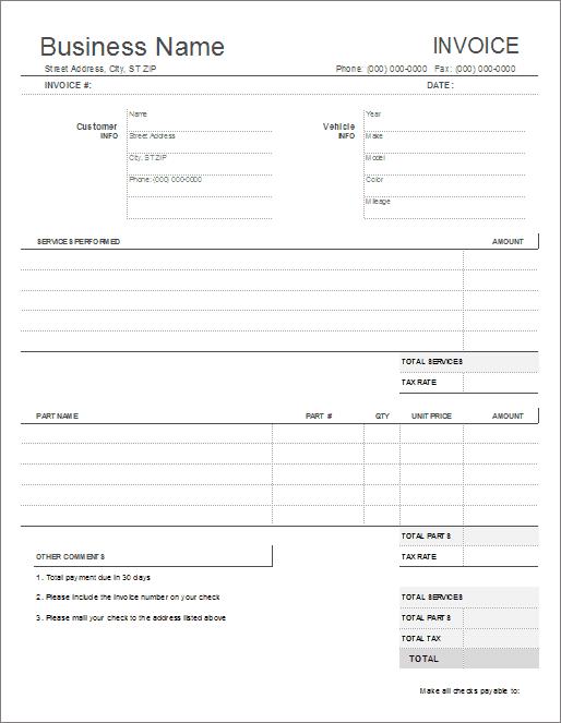 blank billing invoice word | sample customer service resume, Invoice templates
