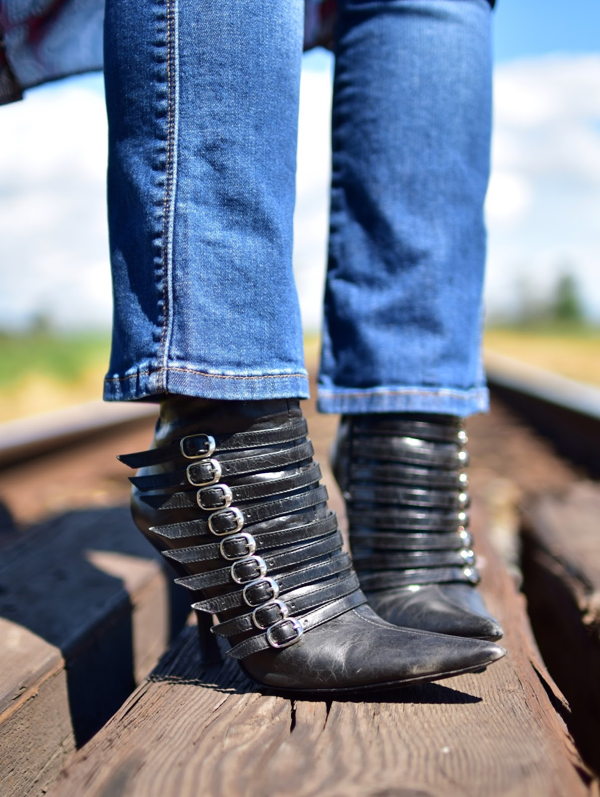 cropped flare jeans, bebe stiletto booties