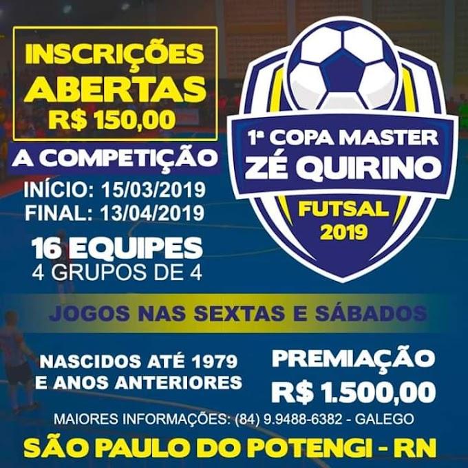 Vem aí a 1° Copa Master Zé Quirino de Futsal em São Paulo do Potengi