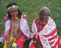 Grandmother and granddaughter of the Maasai east Africa Kenya tribe.