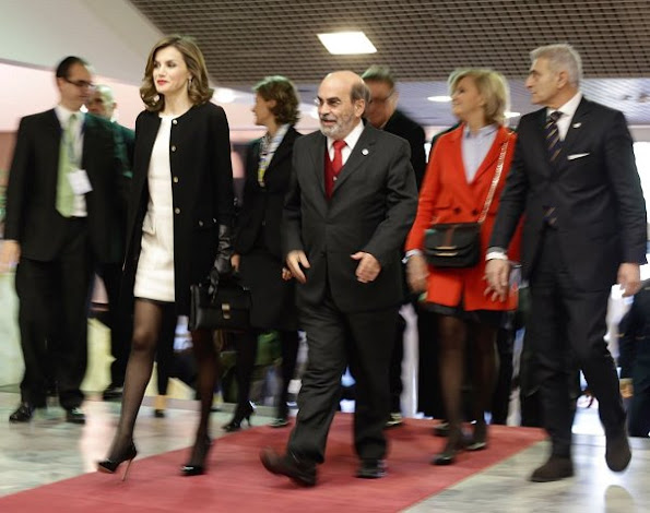 Queen Letizia FELIPE VARELA Coat and Dress, Queen Letizia wore MAGRIT Pumps, Tous Jewelry, Tous Earrings