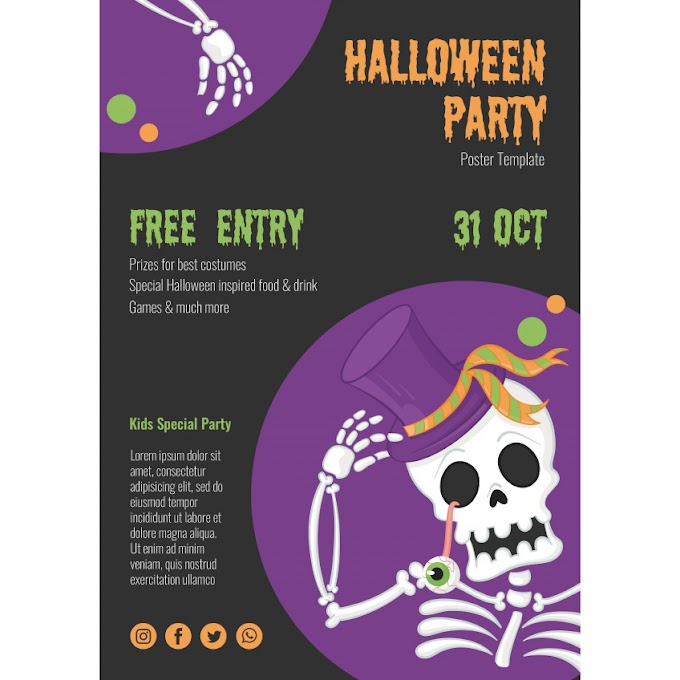 Halloween poster in English source file free psd template
