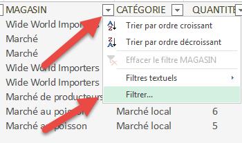 Commande Filtrer - Excel Online
