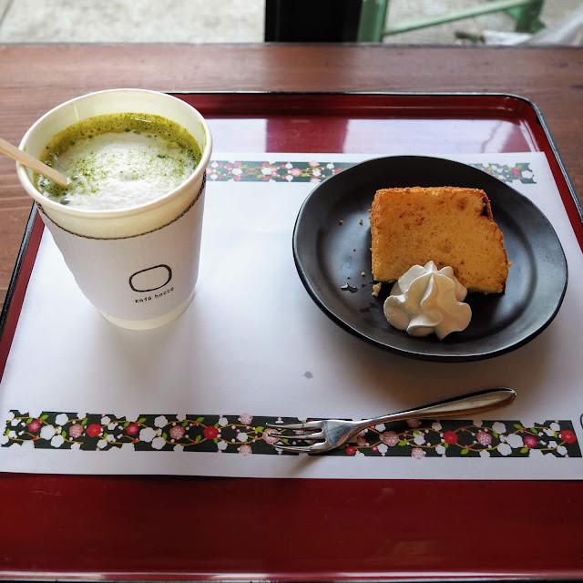 瀬戸屋敷  cafe hacco きんたろう牛乳の抹茶ラテとシフォンケーキ