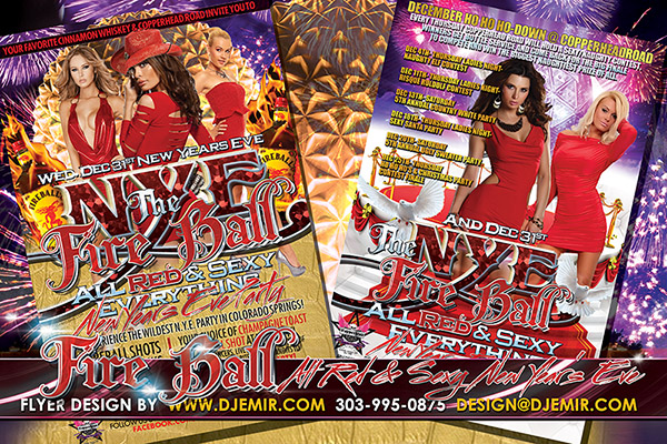 NYE Fireball All Red Attire New Years Eve Party Flyer Design