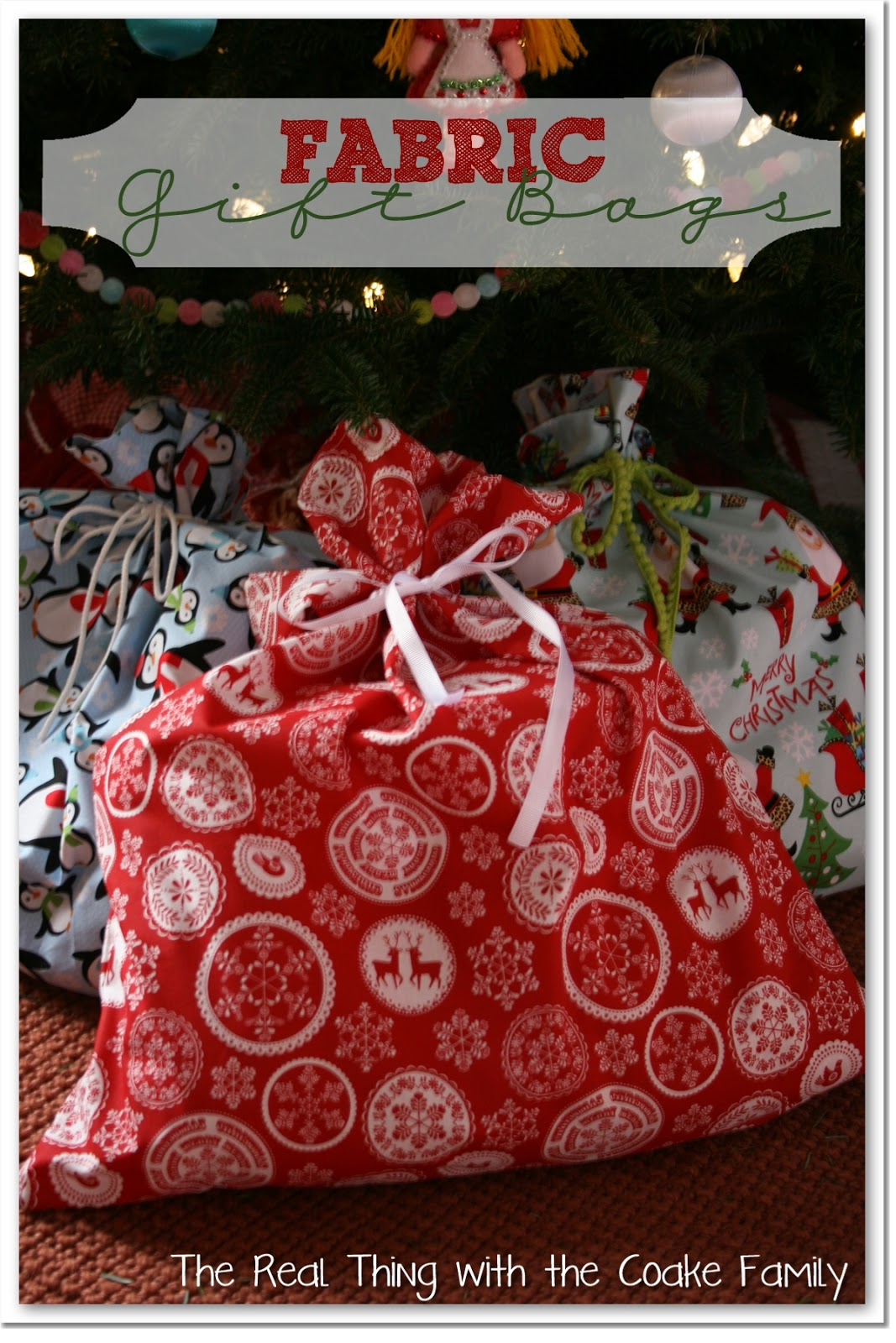 Gift Wrapping Ideas ~ Fabric Gift Bags - The Real Thing ...