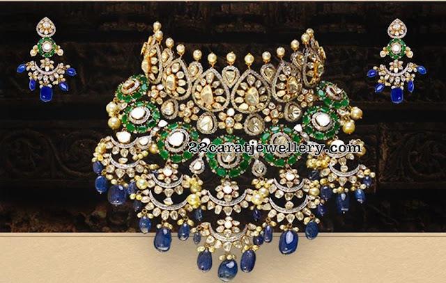 Diamond Grand Choker with Blue Sapphire Drops