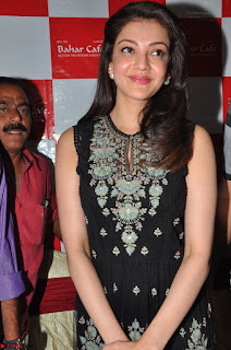 Kajal Aggarwal in lovely Black Sleeveless Anarlaki Dress in Hyderabad at Launch of Bahar Cafe at Madinaguda 035.JPG