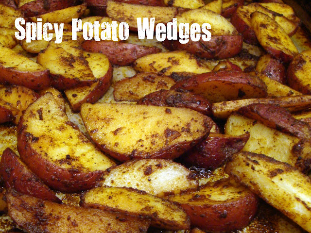 Spicy Potato Wedges are an easy side dish for burgers.