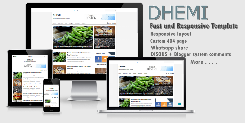 DHEMI Fast Responsive Blogger Template 2017