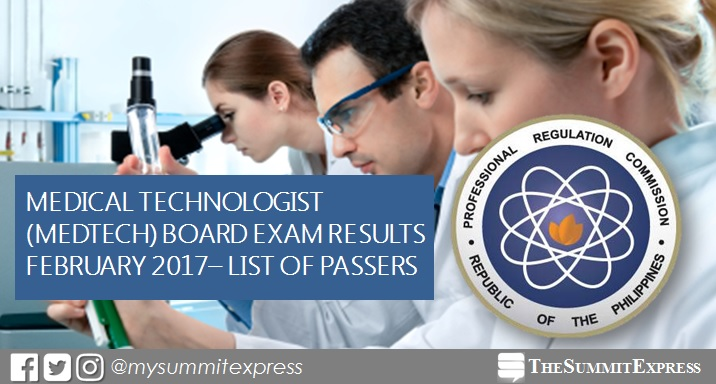February 2017 Medtech board exam results