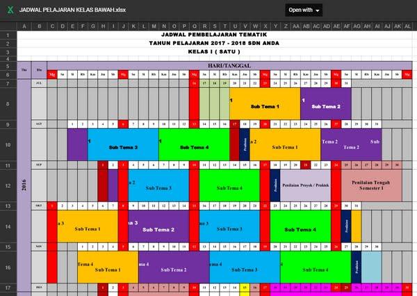 Aplikasi Jadwal Pelajaran SD Kurikulum 2013 Revisi 2017