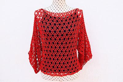 Blusa roja Majovel Crochet ganchillo