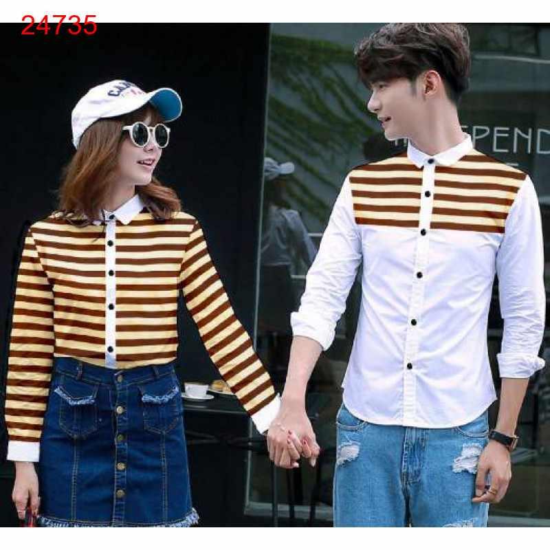 Jual Kemeja Couple Line Full White Cream - 24735