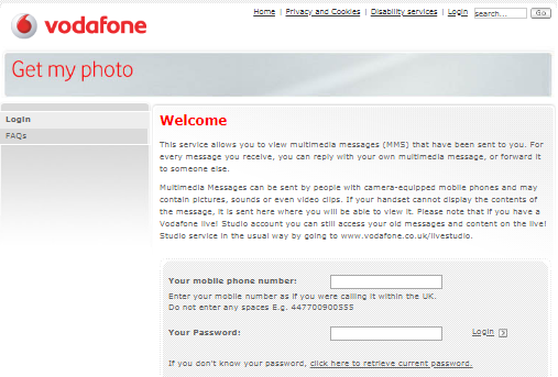 Register for Vodafone Get My Photo