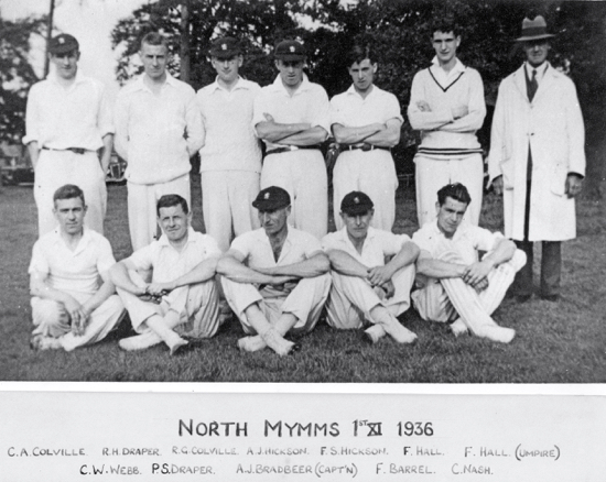 Photograph of North Mymms Cricket Club 1st XI 1936 Image from NMCC