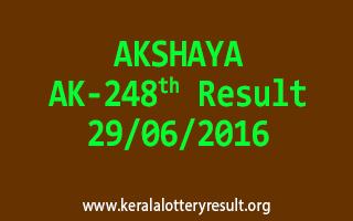 AKSHAYA Lottery AK 248 Result 29-6-2016