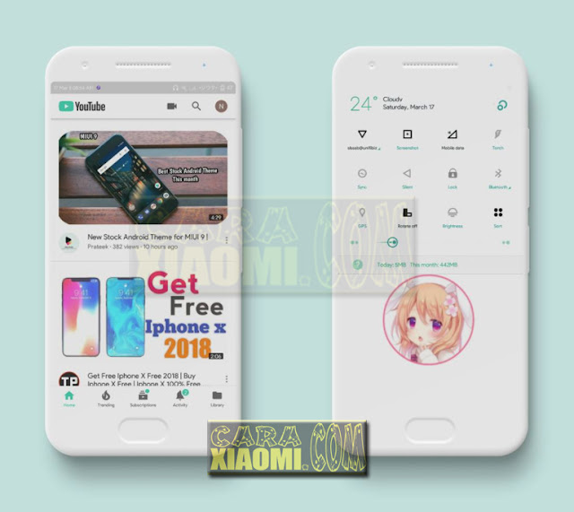 Screenshoot MIUI Theme Green Flat Minimal Mtz V3.0 Update New Desain For Xiaomi V9 Themes