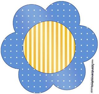 Tarjeta con forma de flor de Corona Dorada en Azul y Amarillo.
