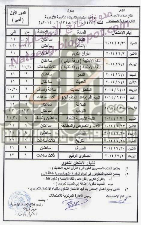 جدول امتحنات الصف الثالث الثانوى الازهرى 2014 أخر العام - الشهاده الثانويه الازهريه