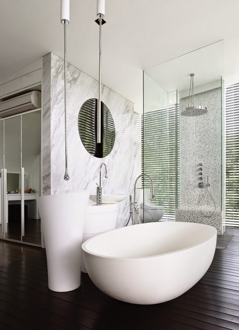 Singapore Contemporary House - interior design - luxurious white bathroom furniture and dark floor with natural light