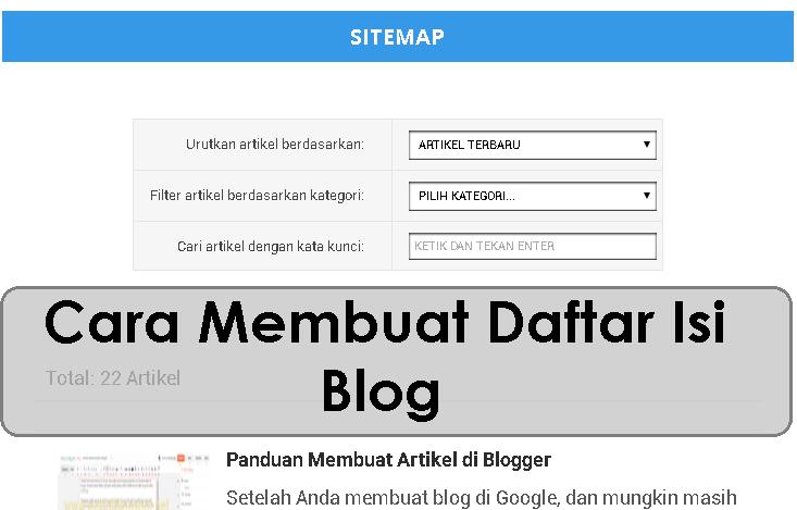 Cara Membuat Daftar Isi di Blog