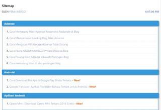 Cara Pasang Halaman Daftar Isi Artikel Di Blog - Sitemap