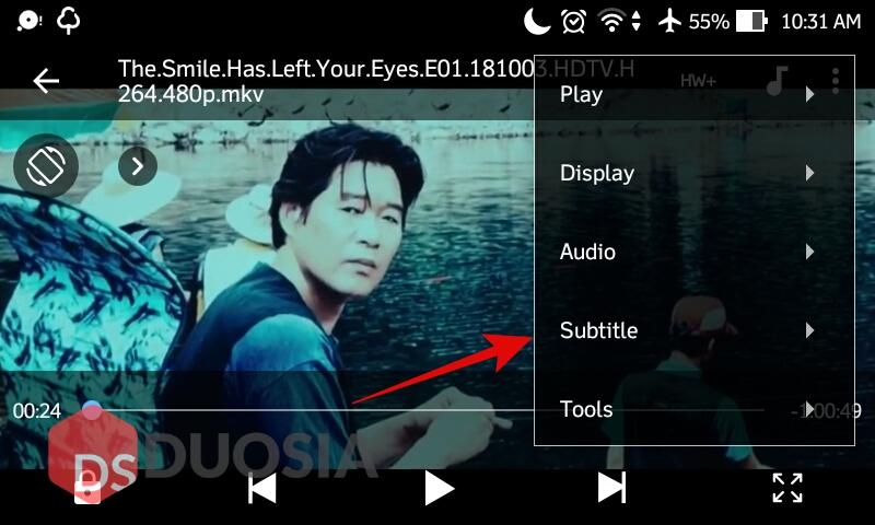 cara membuka subtitle in android