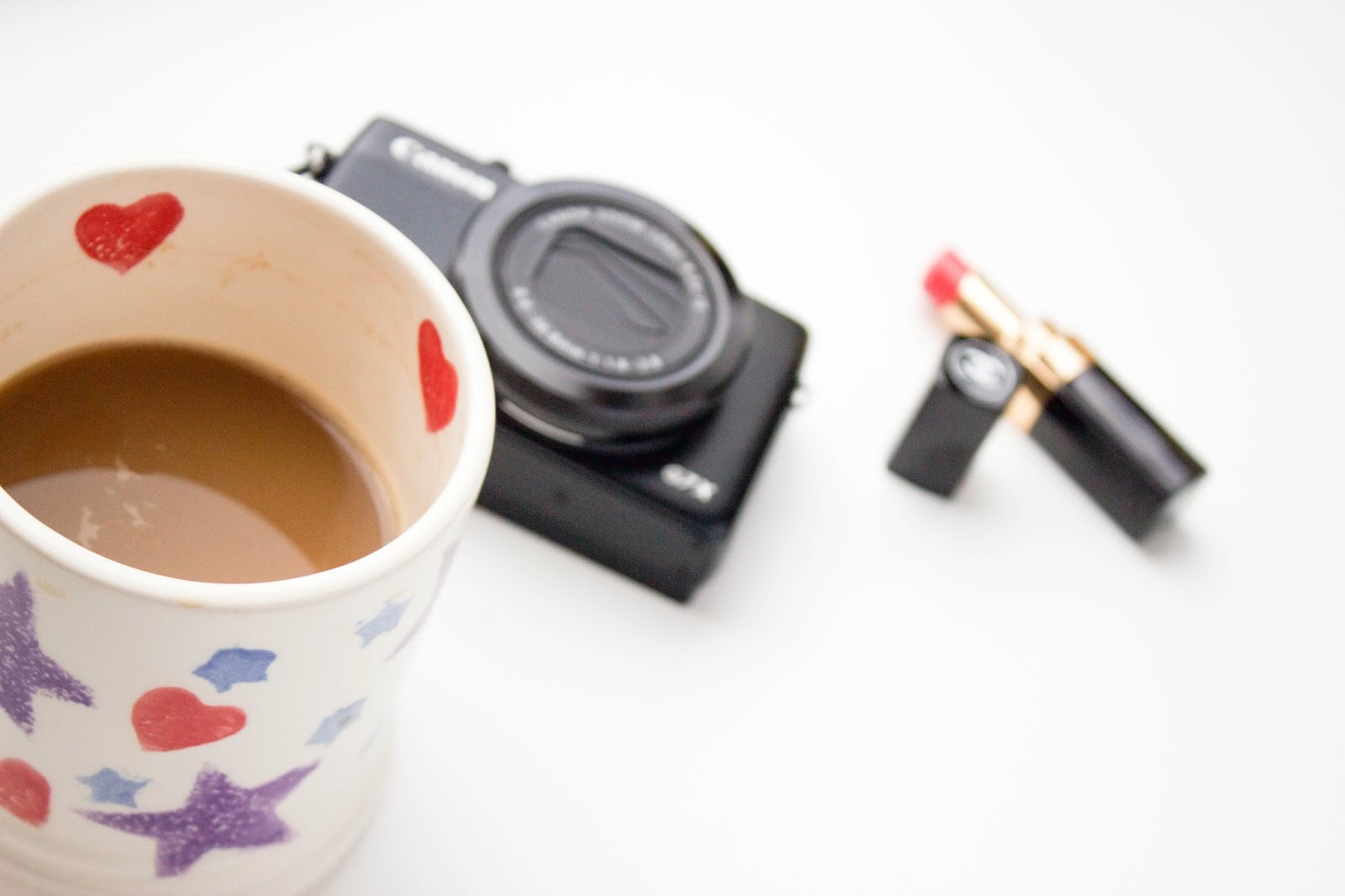 Emma Bridgewater mug, Canon G7X, Chanel Lipstick, Katie Writes,