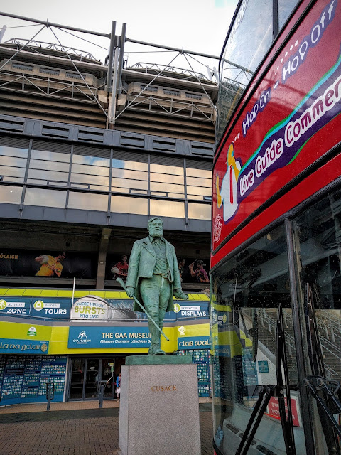 Dublin Citysightseeing Bus and Cusack statue outside of Croke Park