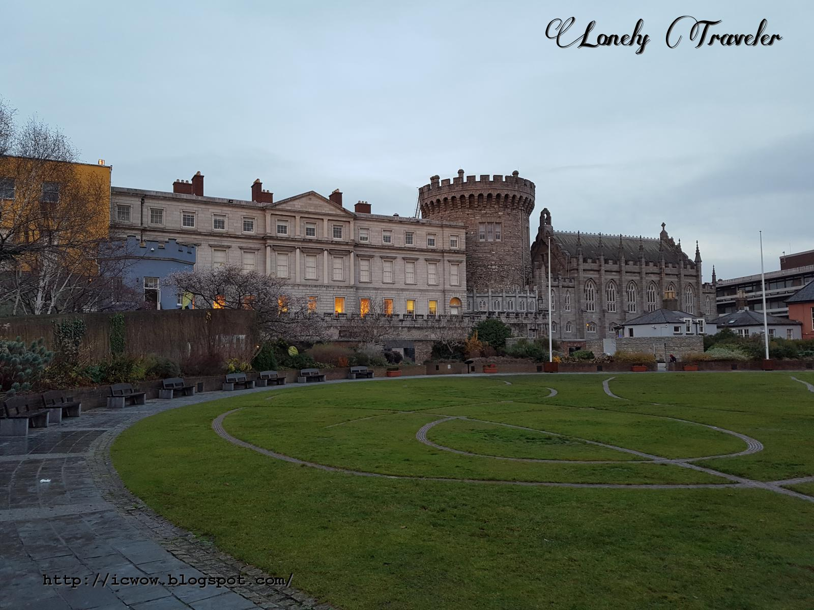dublin castle at afternoon ireland lonely traveler