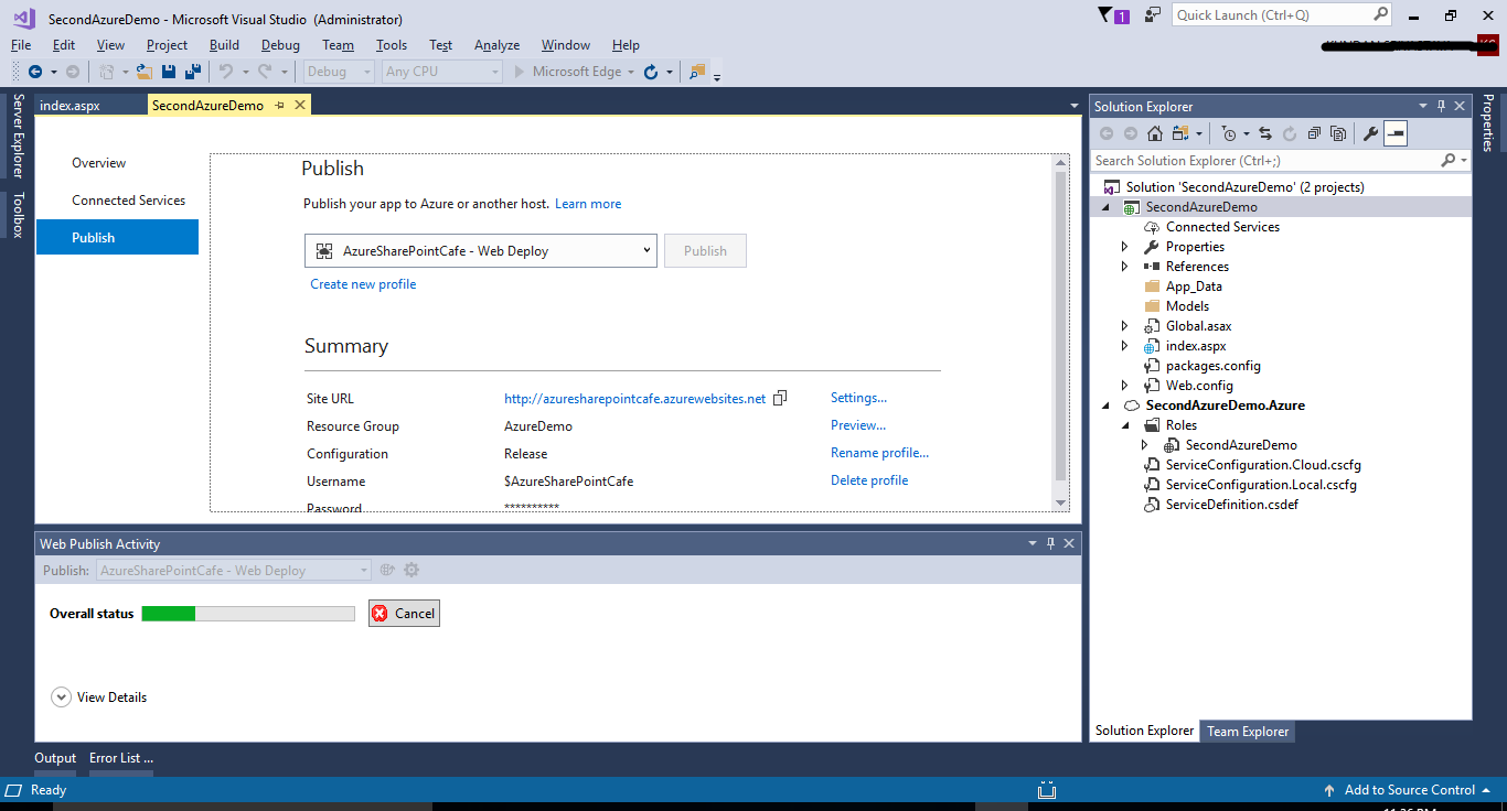 Step by step deployment to Azure using Visual Studio 2017