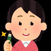 リップクリームを塗った人のイラスト(女性)