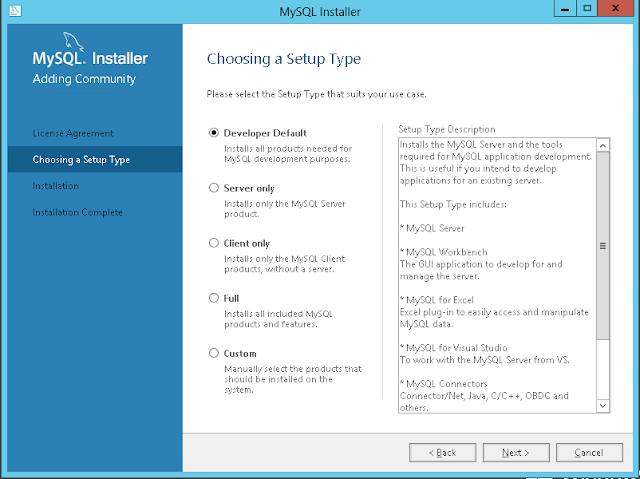 MySQL installation : choose the windows ZIP/Setup.EXE option