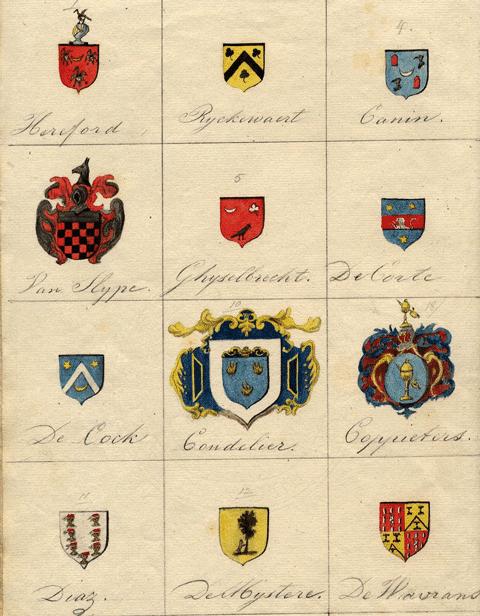 Armoiries Herford, Ghyselbrecht, Coudelier, Coppiters, Diaz, de Mystère, de Wavrans, Canin, Van Hype, De Corte, De Cock.