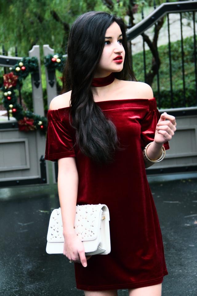 boohoo petite jules velvet off shoulder choker bardot dress holiday
