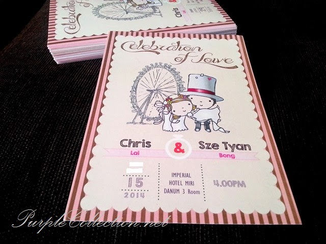 wedding card, invitation, printing, cetak, kad kahwin, murah, flat card, A5 size, marriage, pink, cartoon, big ben, london, imperial hotel miri, sarawak, sabah, malaysia, kuala lumpur, selangor, singapore, johor bahru, jb, penang, perak, pahang, online, website, design, artwork, buy, purchase, sell, sale, custom made, personalised, personalized, handmade, hand crafted, unique, special, idea, celebration of love, Peach Charis AG Church Seri Kembangan
