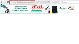 Iklan Indosat diakses dengan sub domain