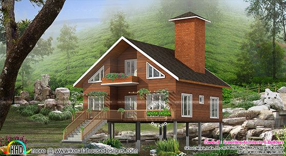 Small wood home design at Wayanad hill