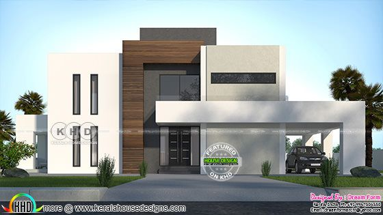 5 BHK 3700 sq-ft sober colored contemporary house