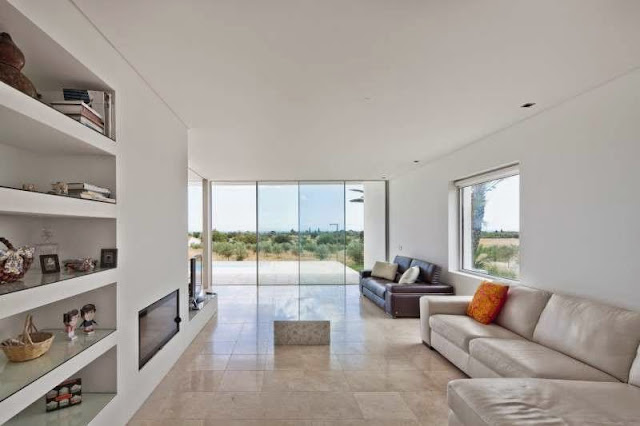 white living room Modern House with Pool in Tavira