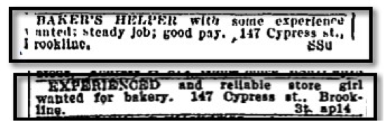 Help wanted ads for Boylston Bakery