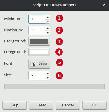 Draw Numbers settings window