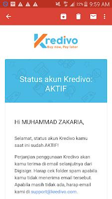 Akun Kredivo telah aktif selamat