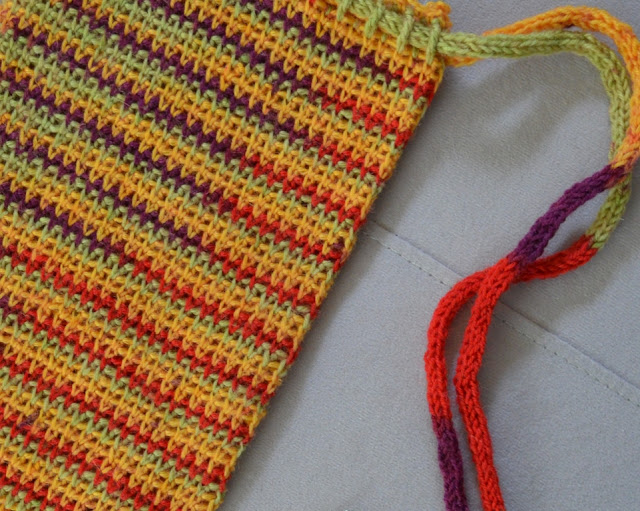 A close-up of the bag (left) and straps (right) showing stitch and french knitting details.