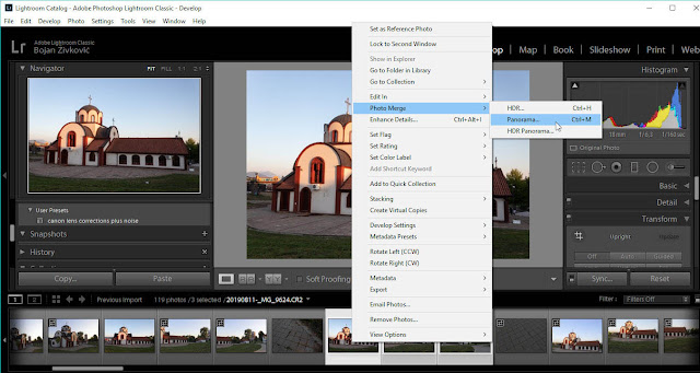 Create Panorama command in Lightroom Classic