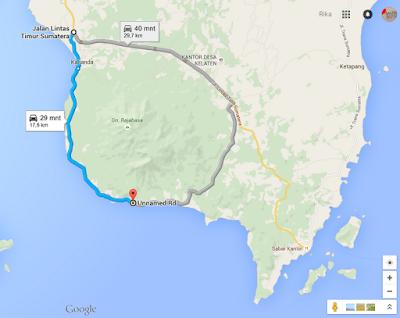 rute perjalanan, diambil dari Google Maps