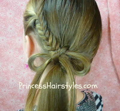 hairstyle tutorial, fishtail braid bow