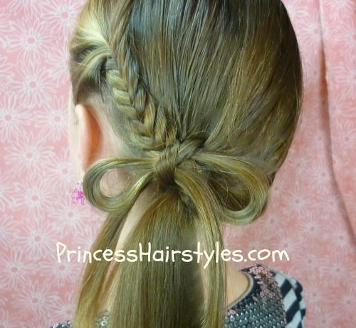 fishtail braid bow ponytail hairstyle