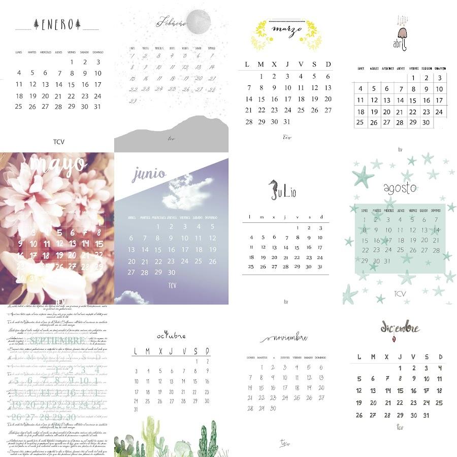 Calendario imprimible 2016